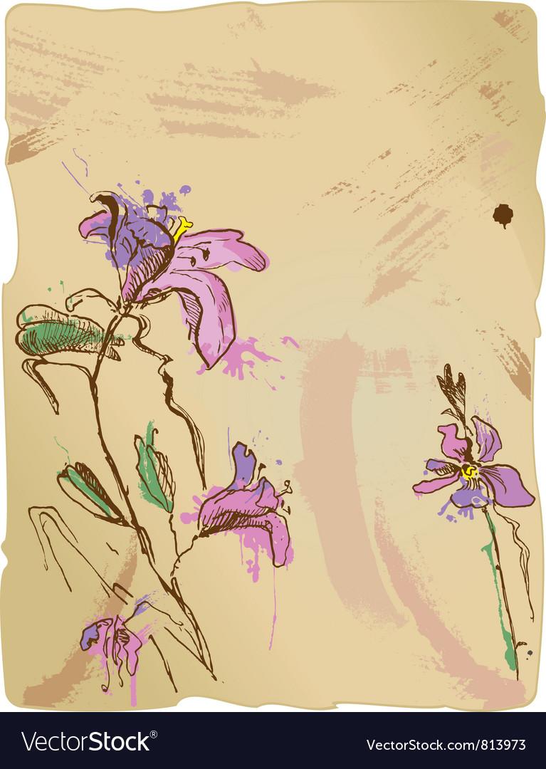 Aquarelle sketch of iris flowers vector | Price: 1 Credit (USD $1)