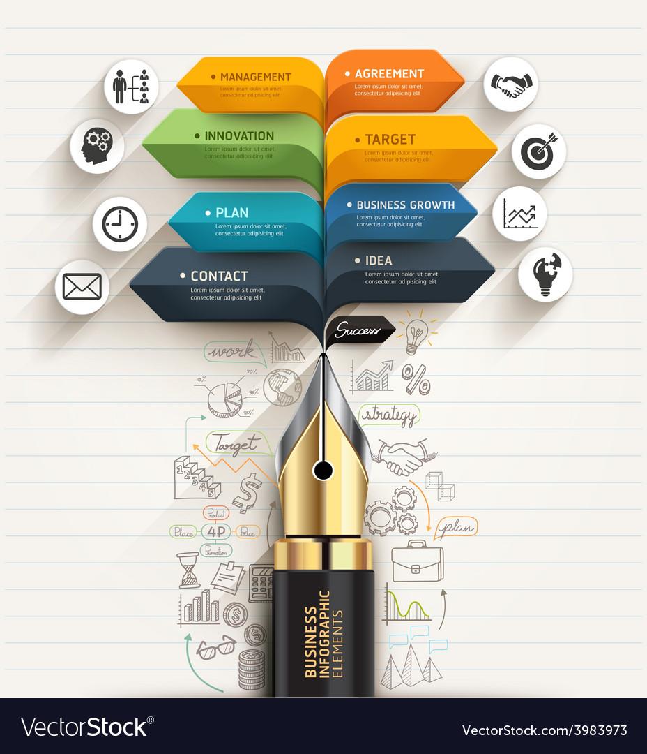 Business concept pen and speech arrow template vector | Price: 3 Credit (USD $3)
