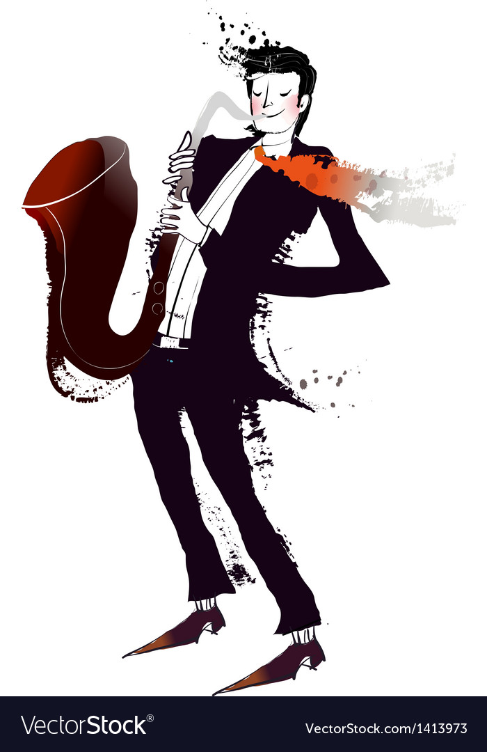 Close-up of man holding saxophone vector | Price: 1 Credit (USD $1)
