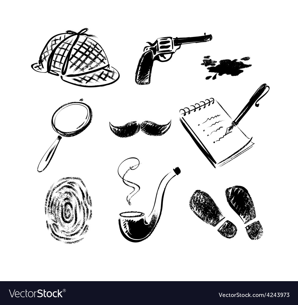 Detective sketch icons vector | Price: 1 Credit (USD $1)