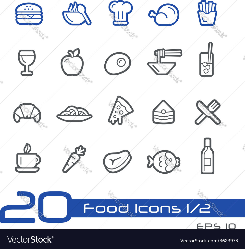 Food and drink icons outline series vector | Price: 1 Credit (USD $1)