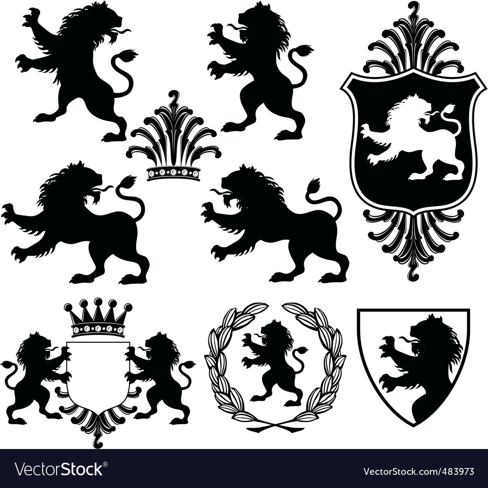 Heraldry silhouettes vector | Price: 1 Credit (USD $1)