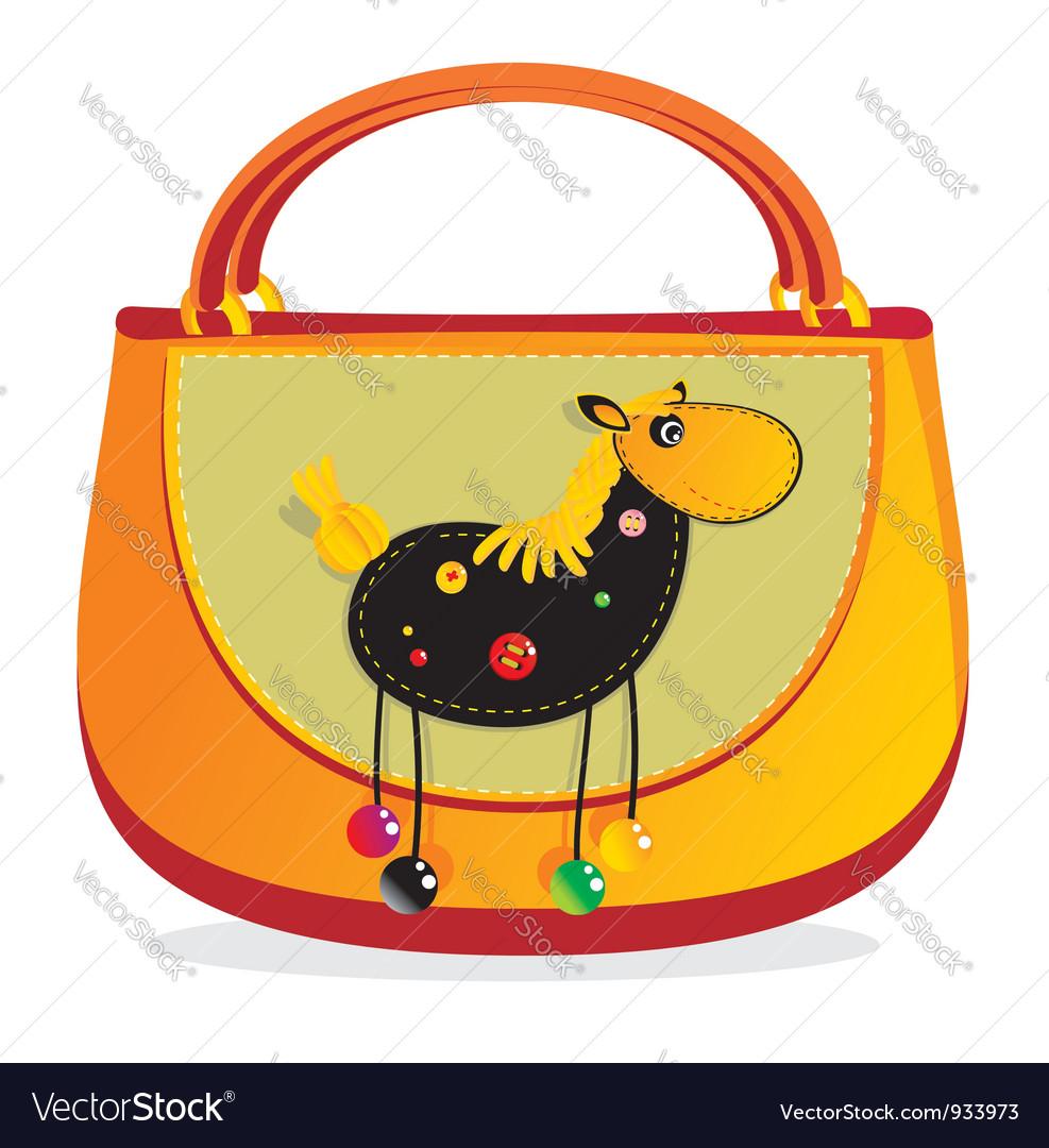 Horse decorated handbag vector | Price: 1 Credit (USD $1)