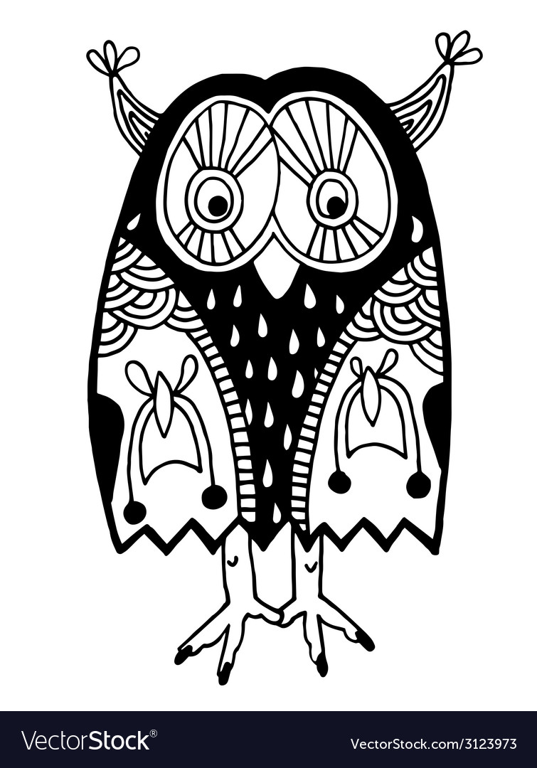 Original artwork of owl ink hand drawing in ethnic vector | Price: 1 Credit (USD $1)