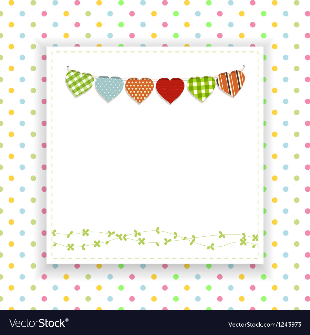 Polka dot background with panel and bunting vector | Price: 1 Credit (USD $1)