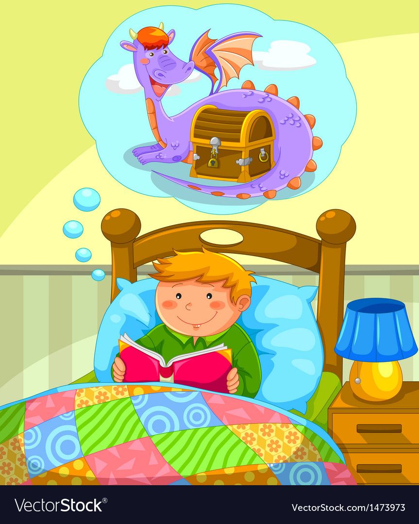 Reading in bed vector | Price: 3 Credit (USD $3)