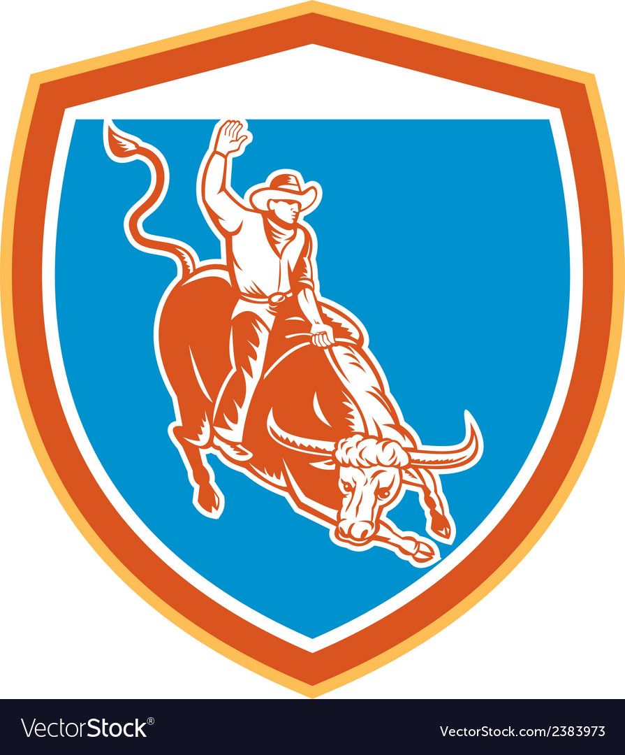 Rodeo cowboy bull riding shield retro vector | Price: 1 Credit (USD $1)