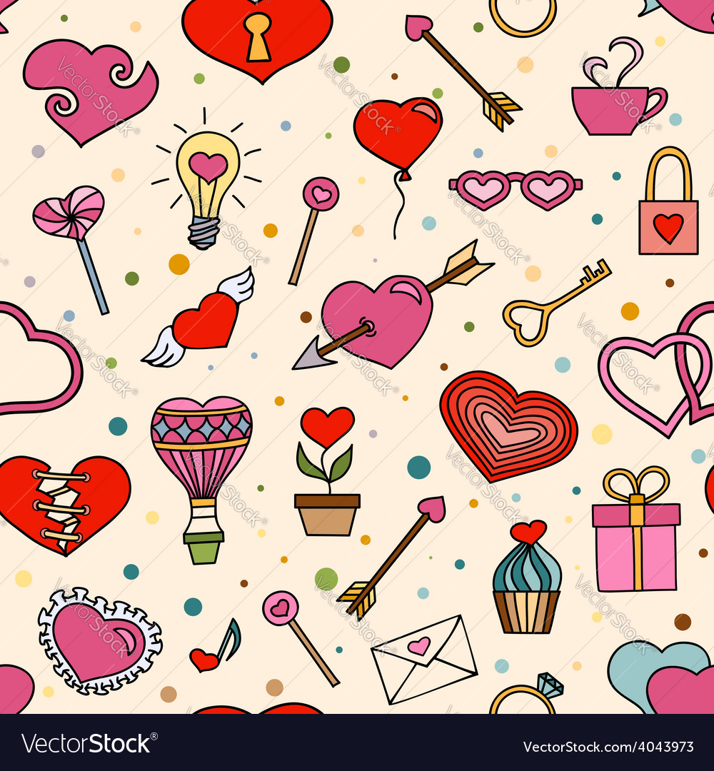 Seamless pattern for valentines day vector | Price: 1 Credit (USD $1)