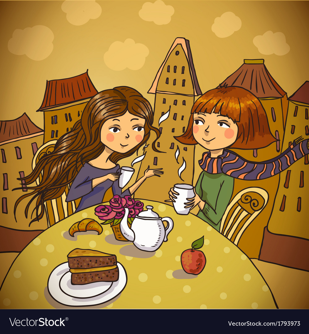 Two young women drinking coffee in cafe vector | Price: 1 Credit (USD $1)