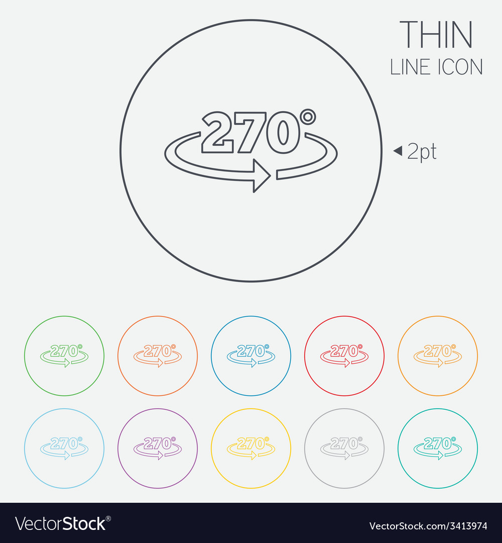 Angle 270 degrees sign icon geometry math symbol vector   Price: 1 Credit (USD $1)