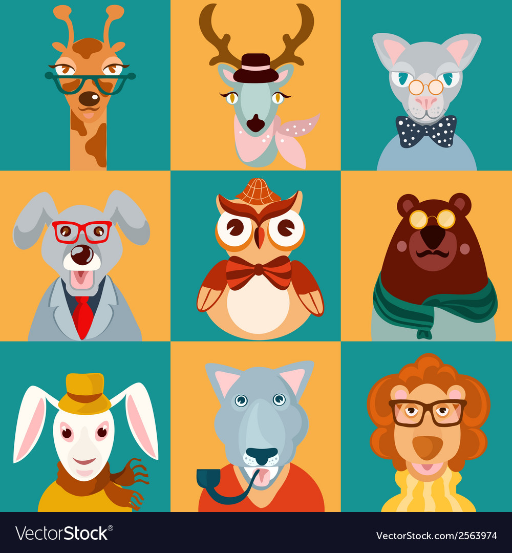 Animal hipsters icons flat vector | Price: 1 Credit (USD $1)