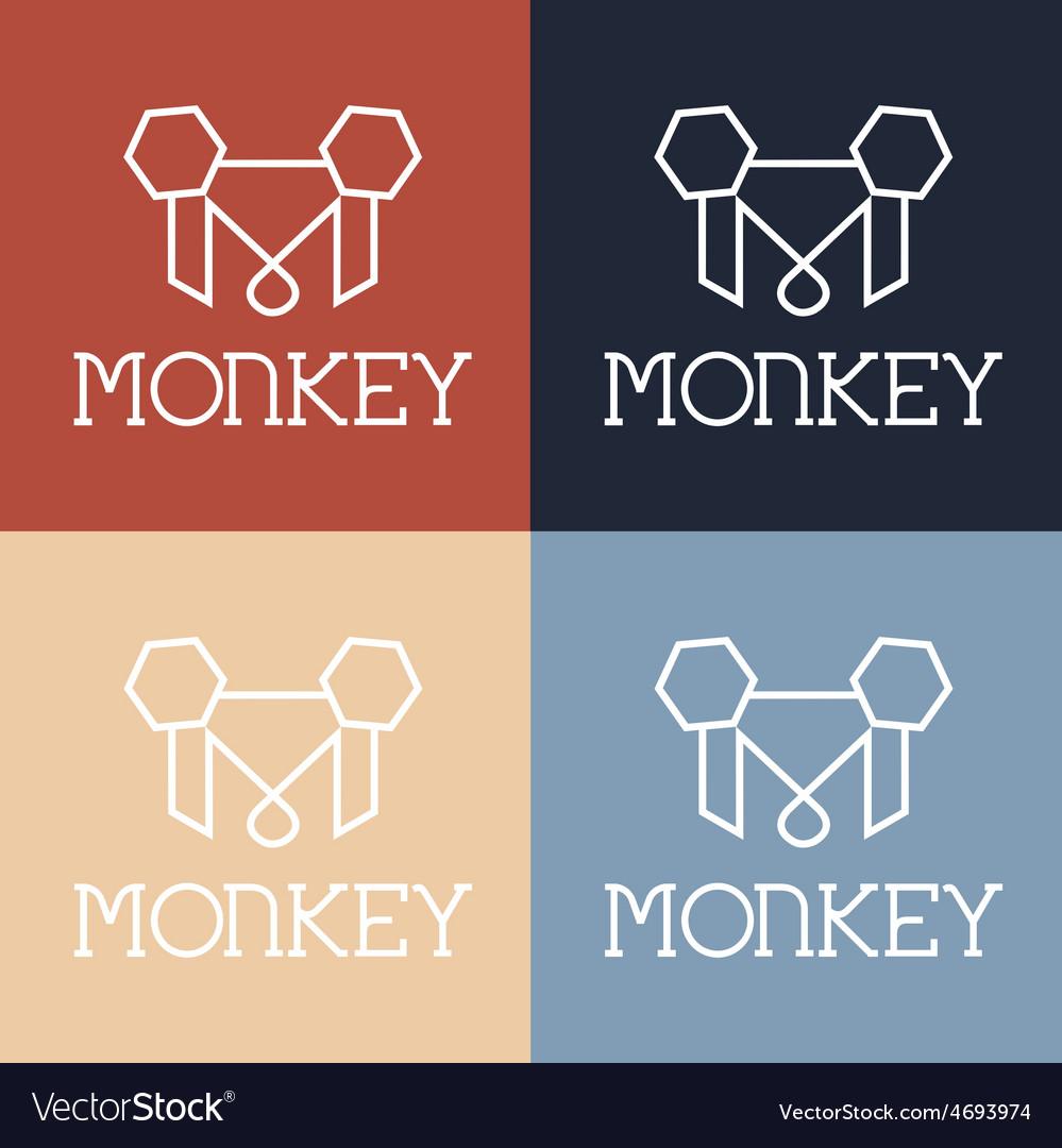 Monkey monogram vector | Price: 1 Credit (USD $1)