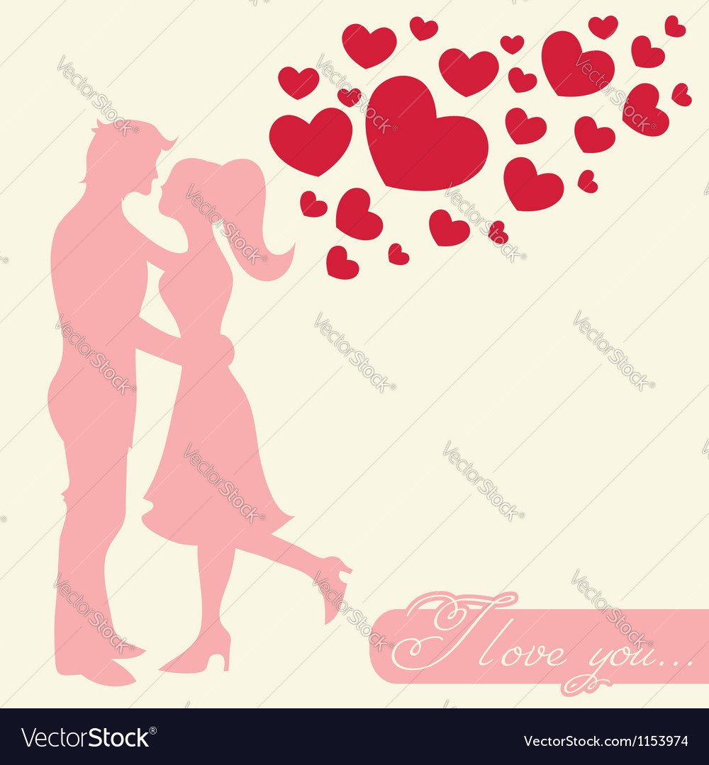 Romantic valentine lovers silhouette vector | Price: 1 Credit (USD $1)