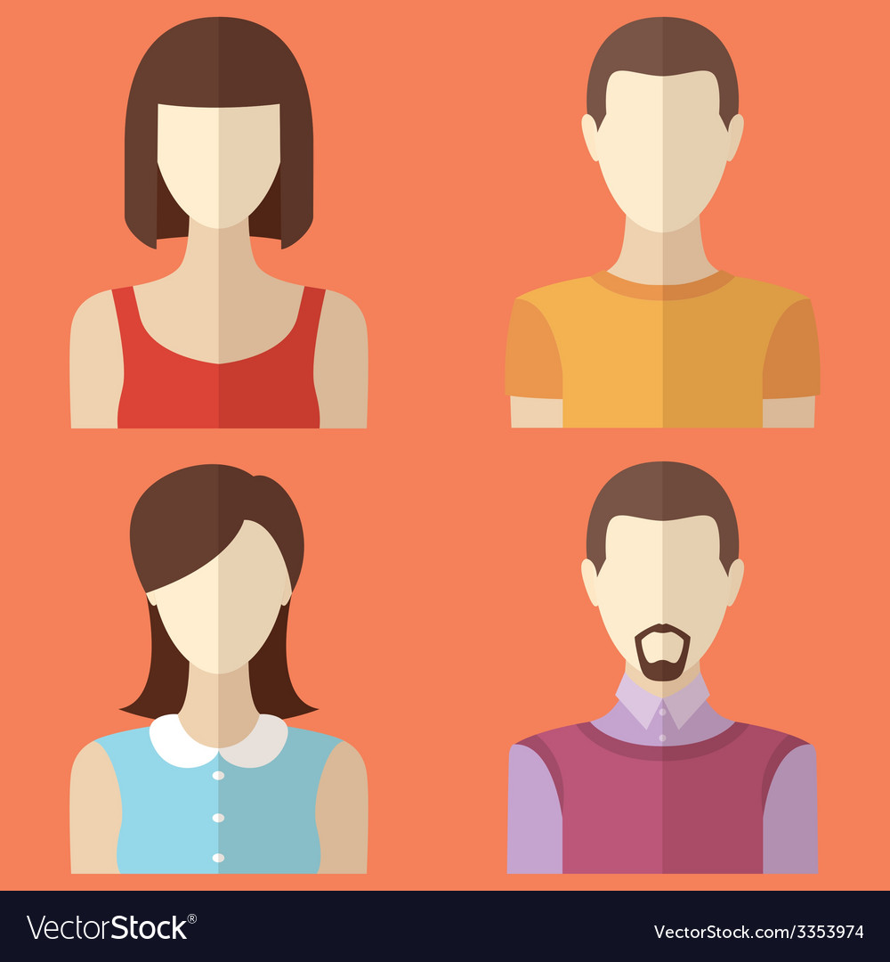 Set of male and female characters man woman avatar vector | Price: 1 Credit (USD $1)