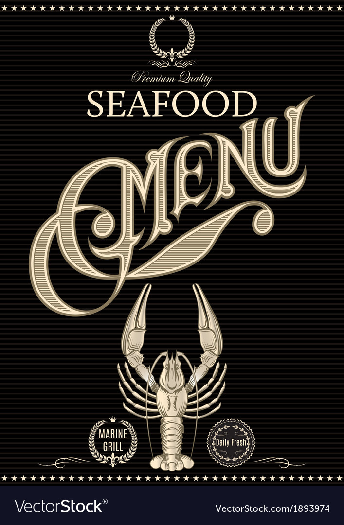 Template for restaurant menu with crawfish vector | Price: 1 Credit (USD $1)
