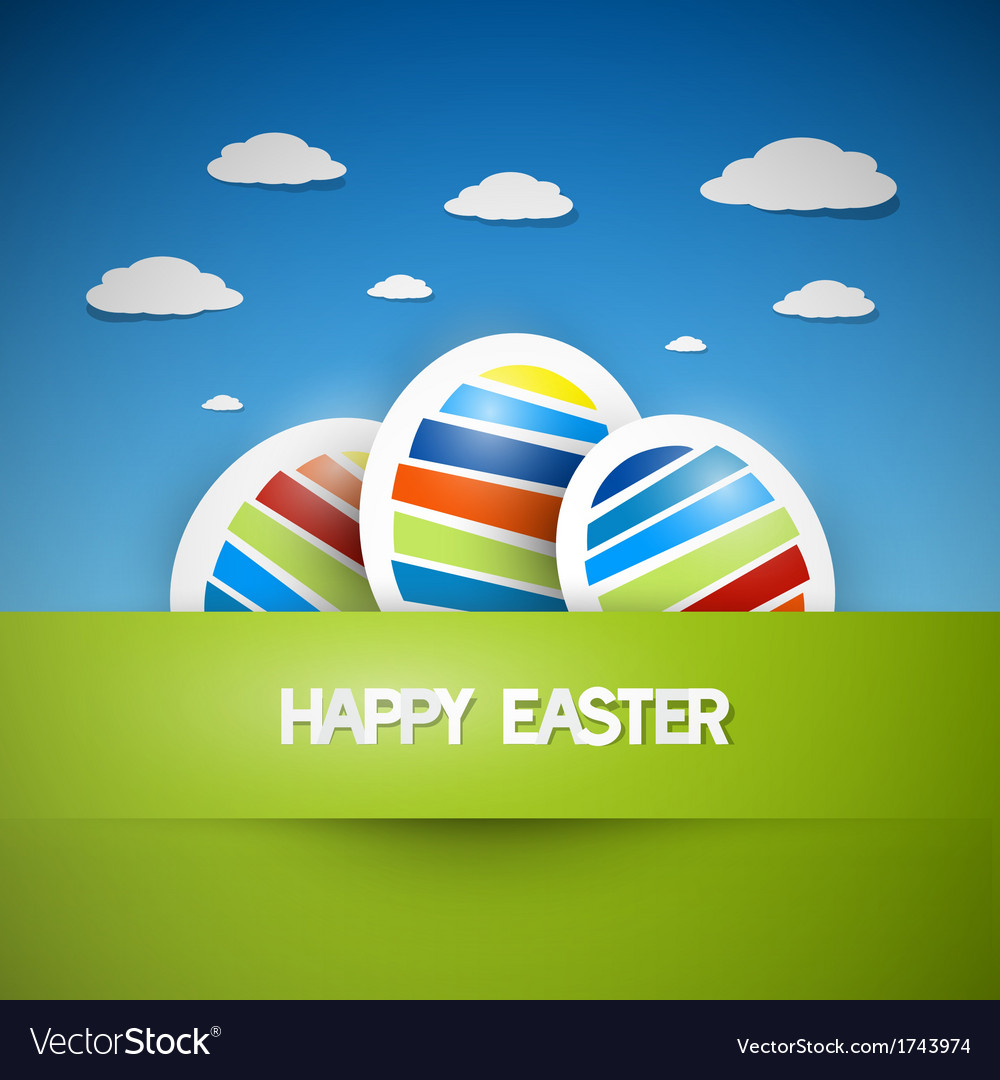 Three colorful easter eggs vector | Price: 1 Credit (USD $1)