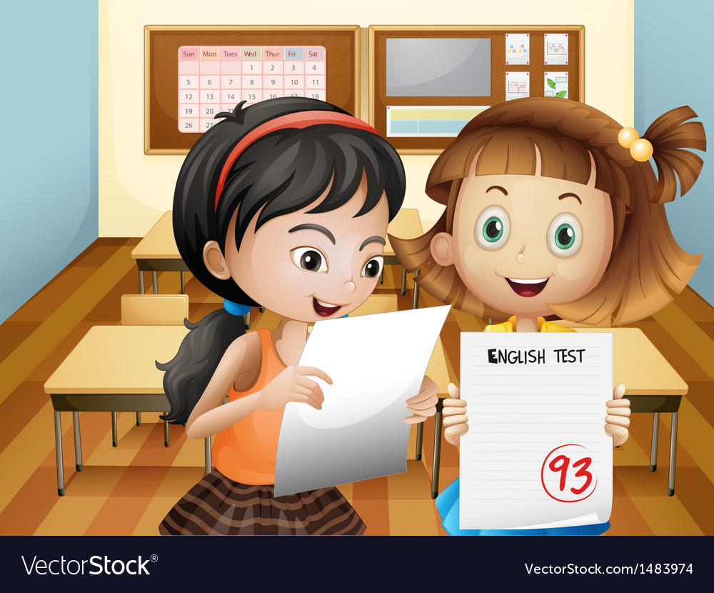 Two girls holding their exam results vector | Price: 1 Credit (USD $1)