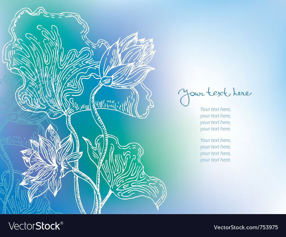 Blue background with lily flowers vector | Price: 1 Credit (USD $1)
