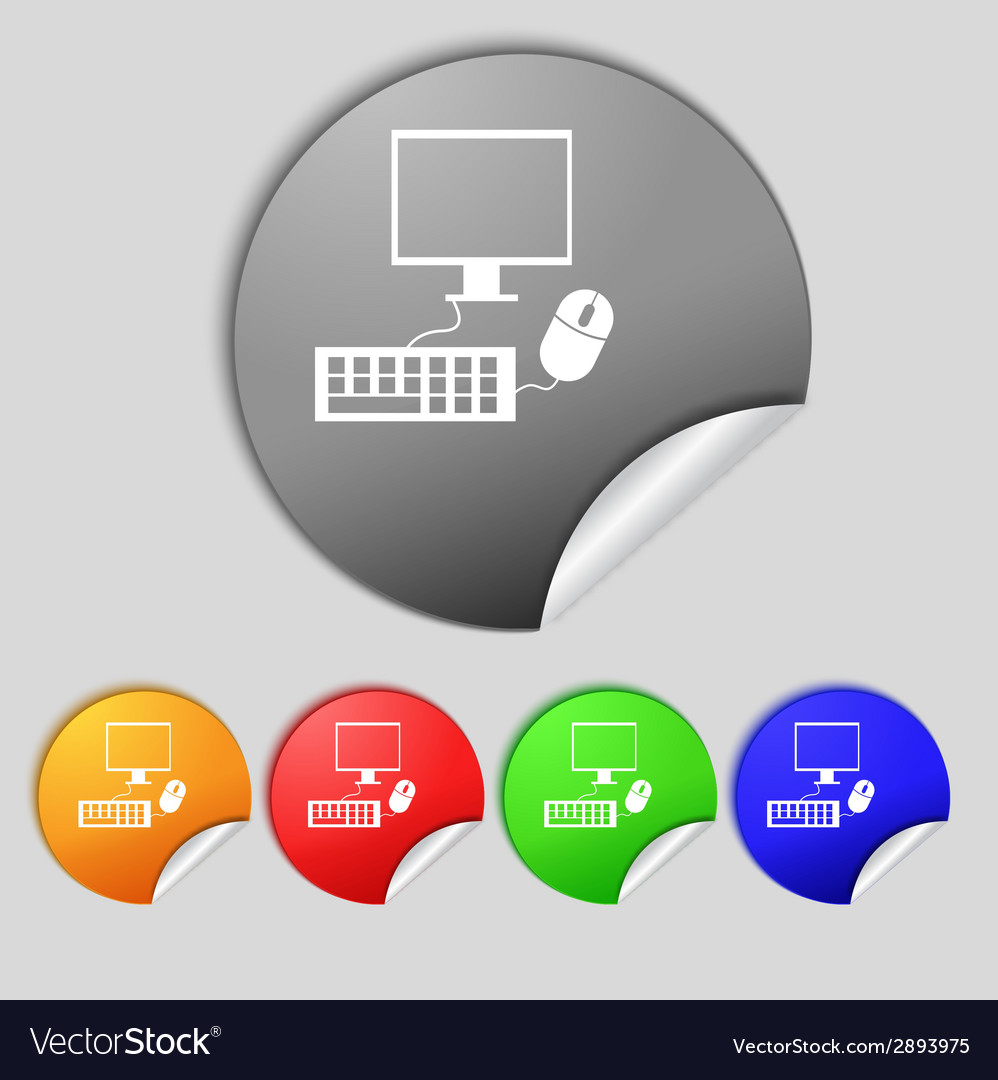 Computer widescreen monitor keyboard mouse sign vector   Price: 1 Credit (USD $1)