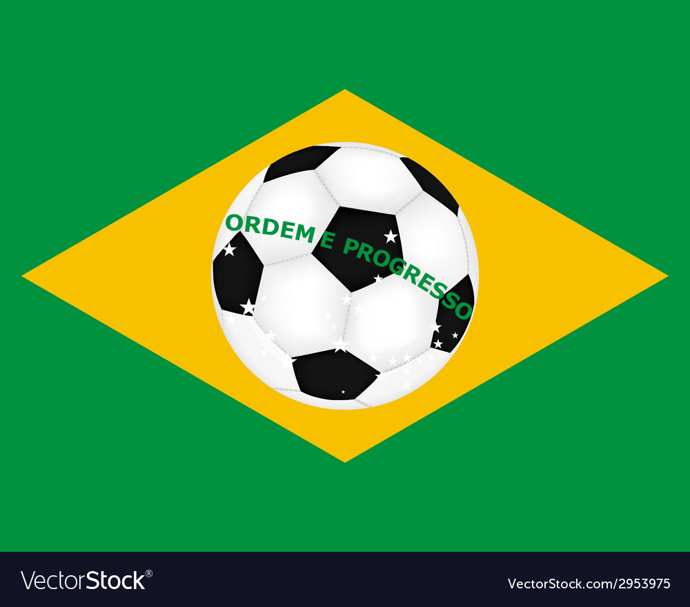 Flag of brazil with a picture of a soccer ball vector | Price: 1 Credit (USD $1)
