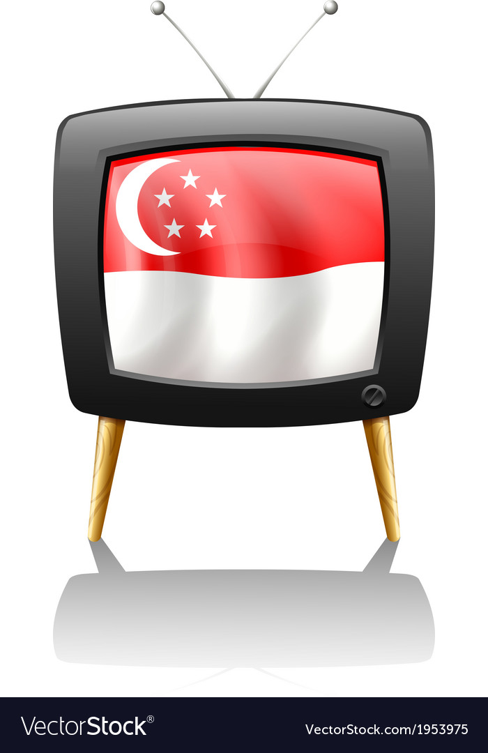 The flag of singapore inside a television vector | Price: 1 Credit (USD $1)