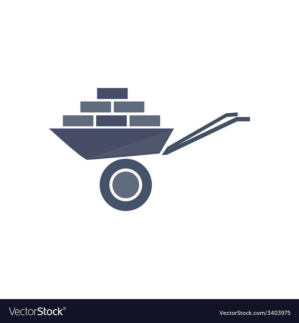 Icon of wheelbarrow with bricks vector | Price: 1 Credit (USD $1)