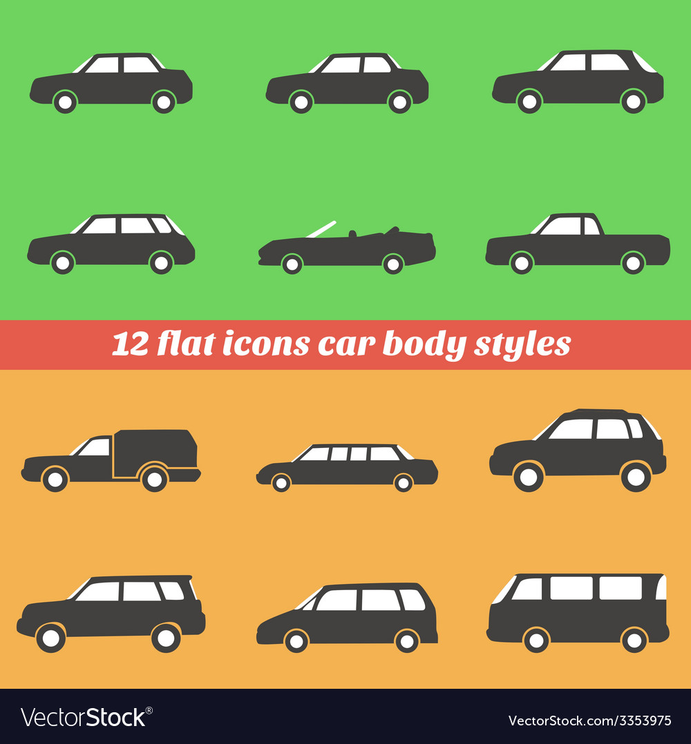 Icon set car body styles made in flat design vector | Price: 1 Credit (USD $1)