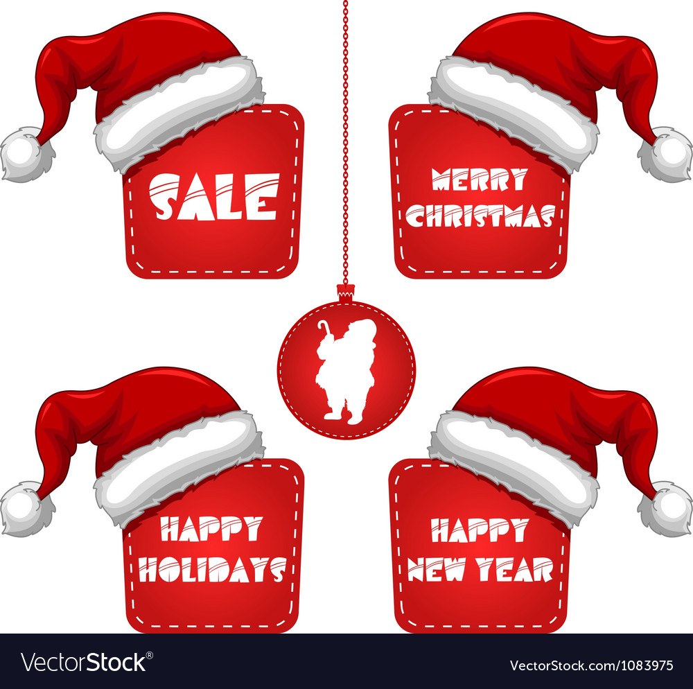 Rectangle christmas new year sale tag with cap vector | Price: 1 Credit (USD $1)