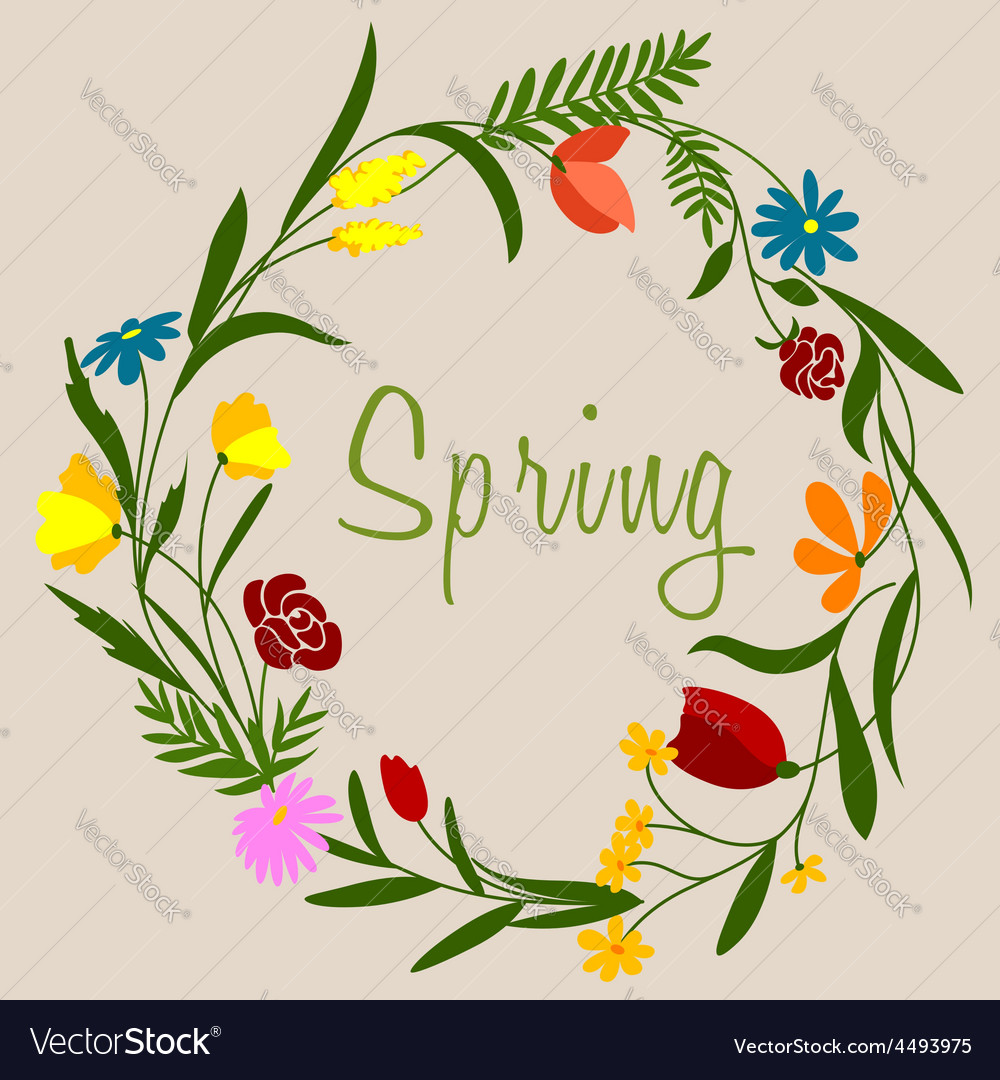 Spring flowers wreath for seasonal decoration vector | Price: 1 Credit (USD $1)