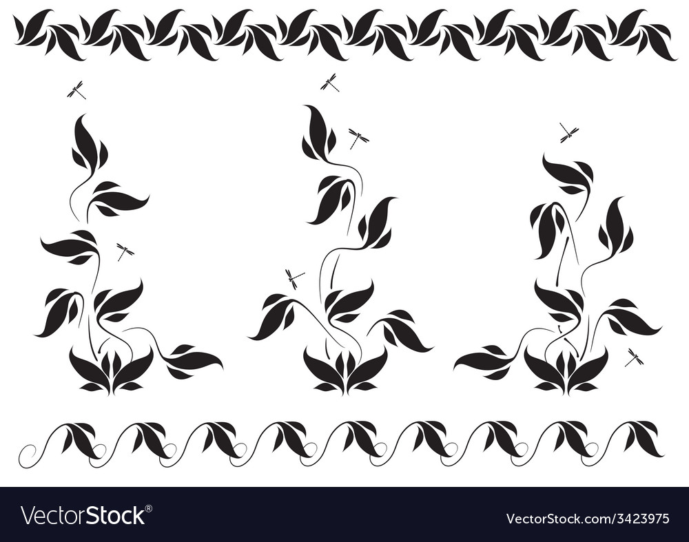 Vignettes with floral pattern and dragonflies vector | Price: 1 Credit (USD $1)
