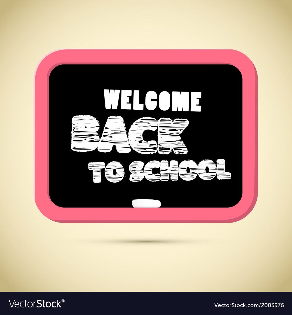 Back to school title with chalk and blackboard vector | Price: 1 Credit (USD $1)