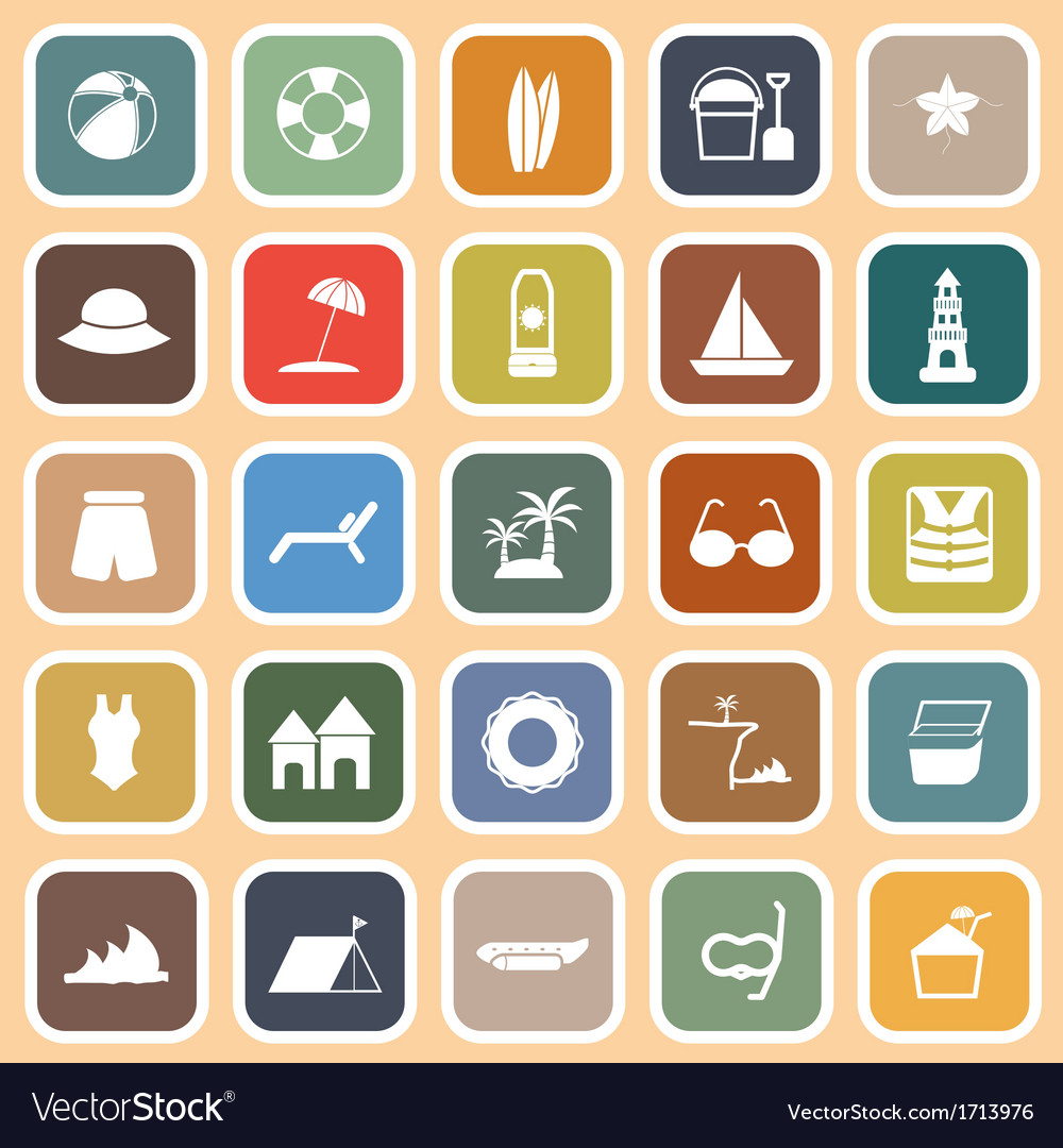 Beach flat icons on orange background vector | Price: 1 Credit (USD $1)