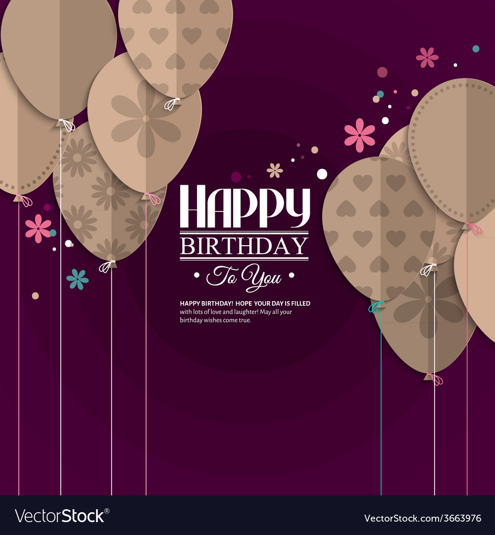 Birthday card with paper balloons vector | Price: 1 Credit (USD $1)