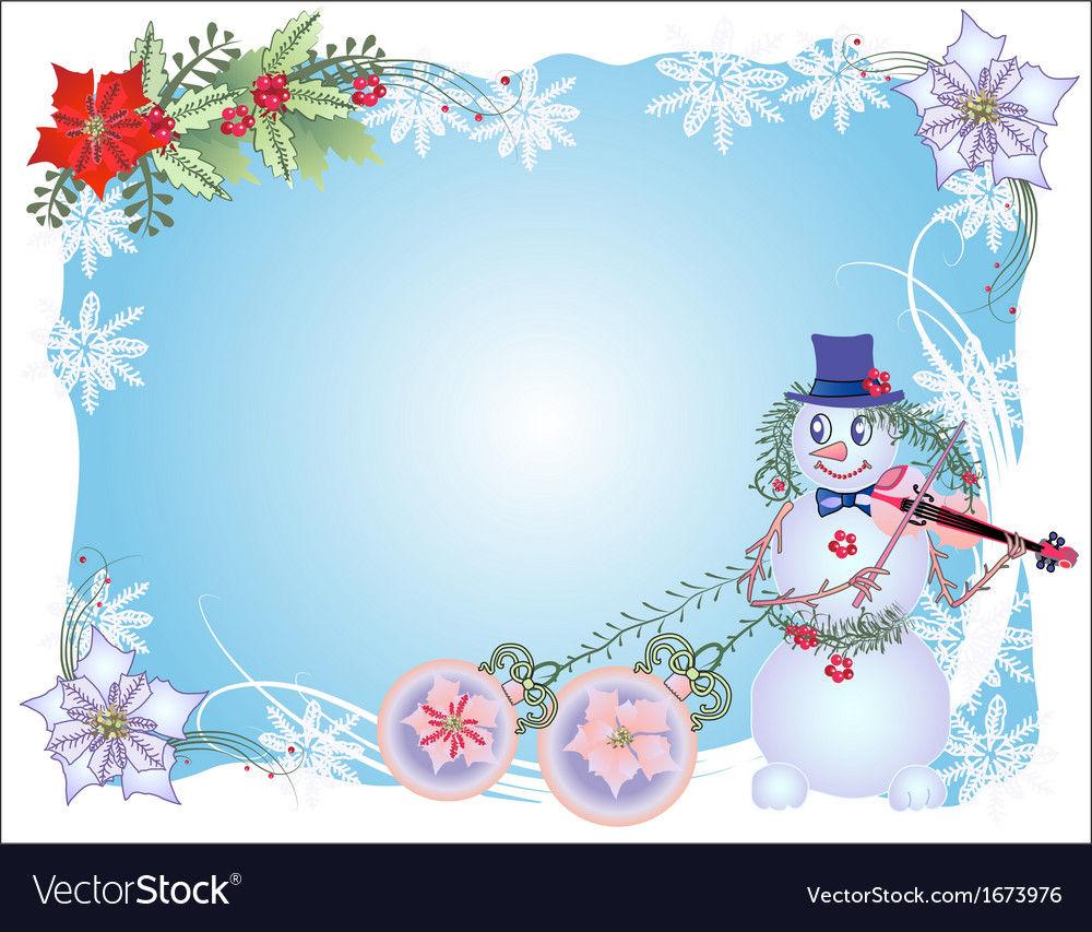Blue christmas background with snowman and balls vector | Price: 1 Credit (USD $1)