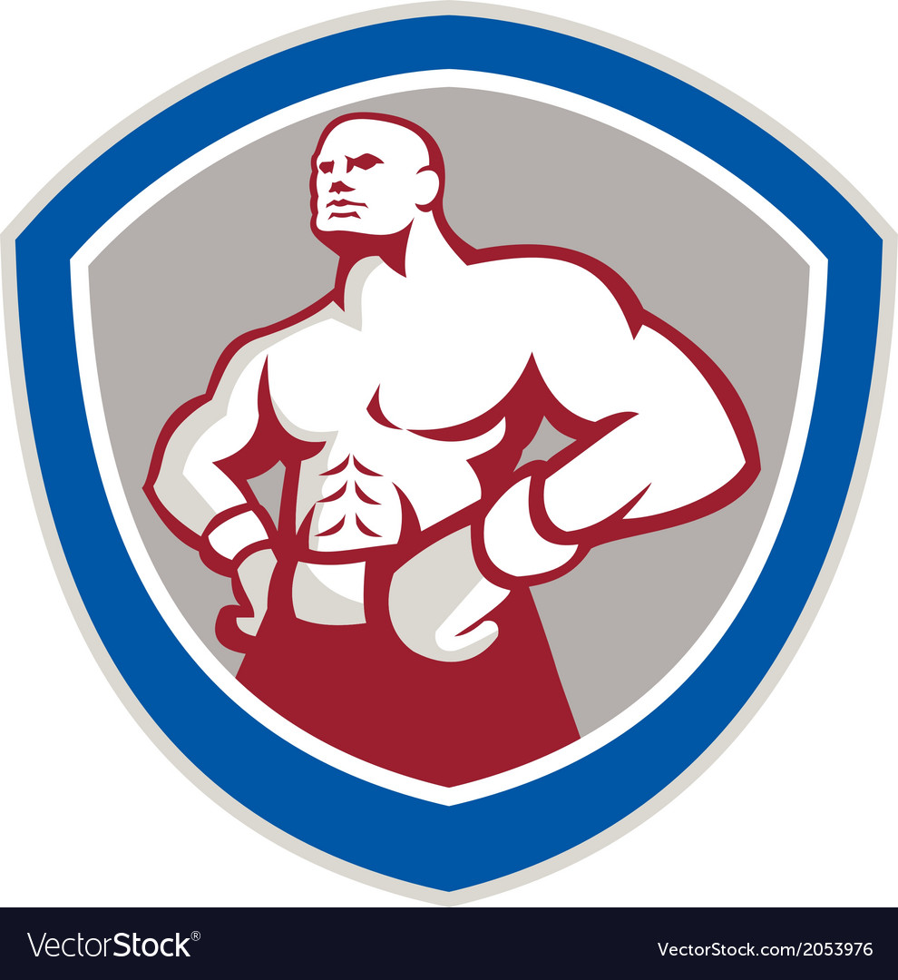 Boxer with hands on hips shield vector | Price: 1 Credit (USD $1)