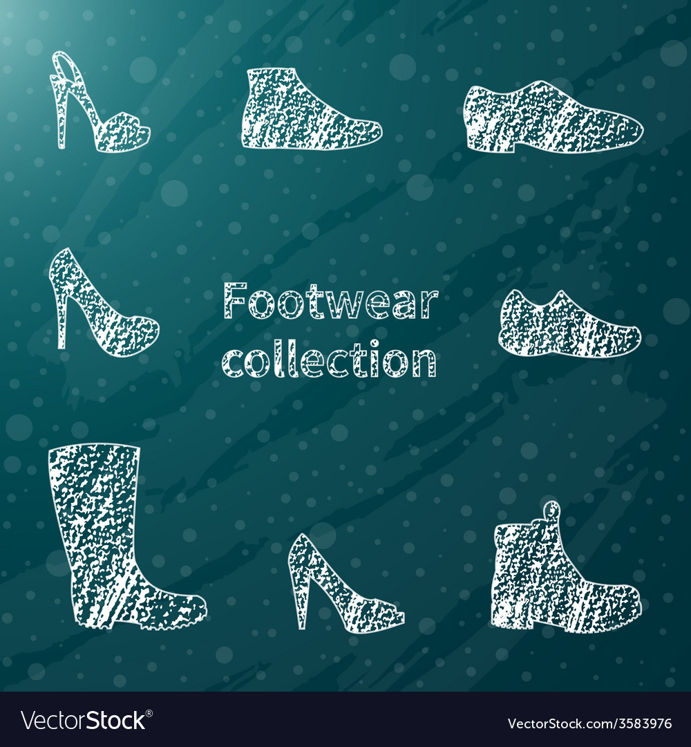 Chalk sketched shoes vector | Price: 1 Credit (USD $1)