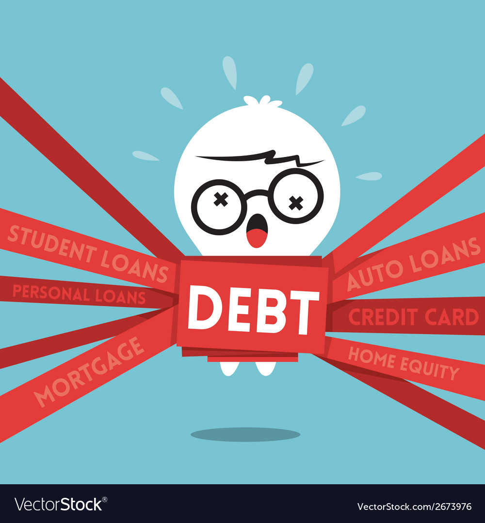 Debt concept cartoon a man wrapped up in red tape vector | Price: 1 Credit (USD $1)
