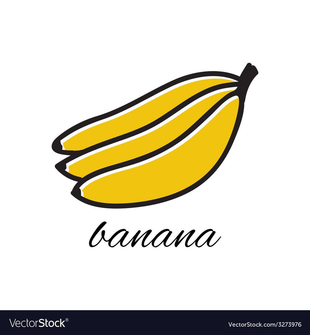 Doodle banana hand-drawn object isolated on white vector | Price: 1 Credit (USD $1)