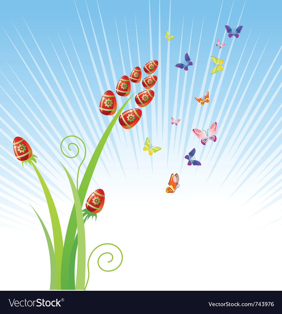 Easter eggs-flowers with butterfly holiday ornam vector | Price: 1 Credit (USD $1)