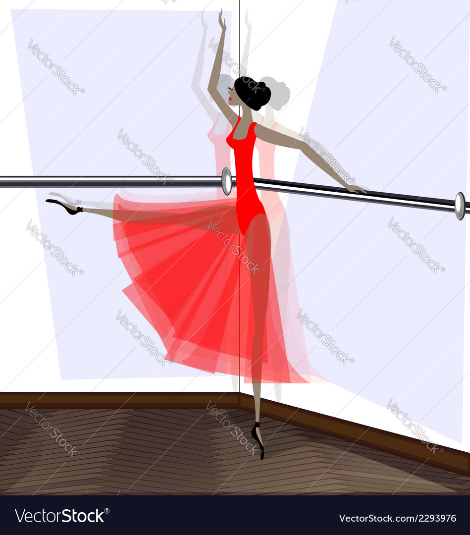 Exercising of ballet dancer in red vector | Price: 1 Credit (USD $1)