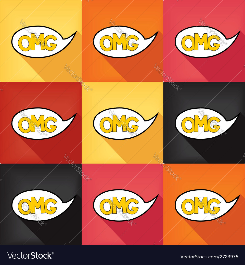 Flat pop art speech bubble - omg vector | Price: 1 Credit (USD $1)