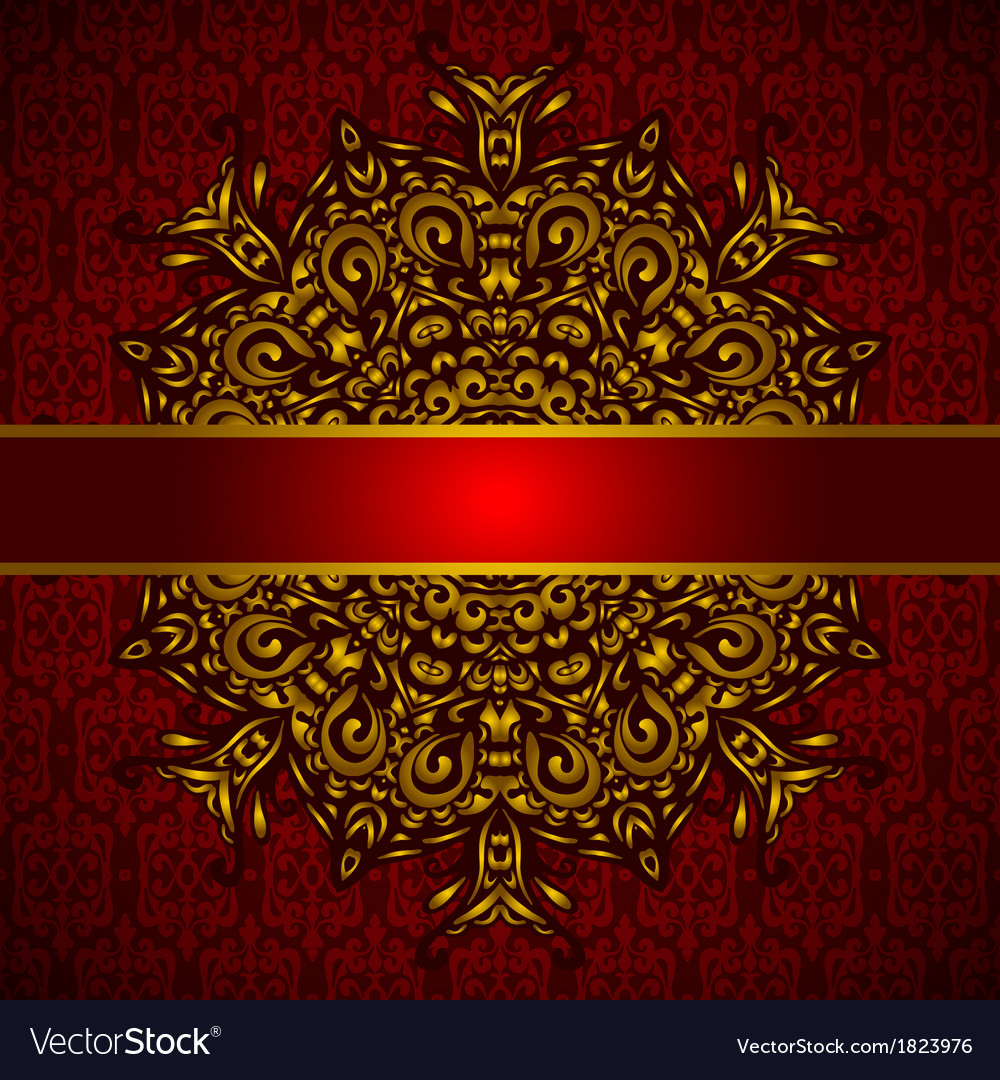 Golden medallion red card vector | Price: 1 Credit (USD $1)