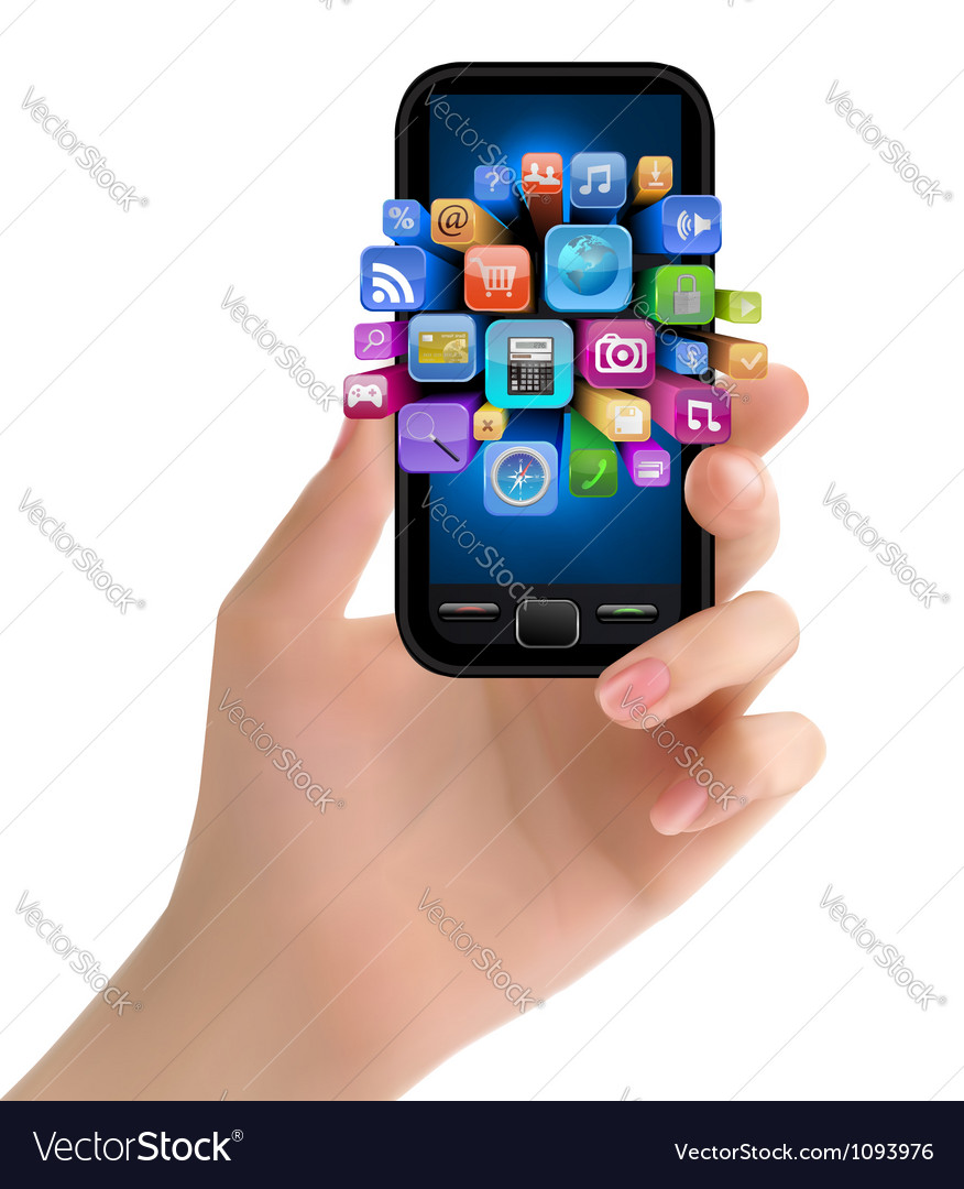 Hand holding mobile phone with icons vector | Price: 3 Credit (USD $3)