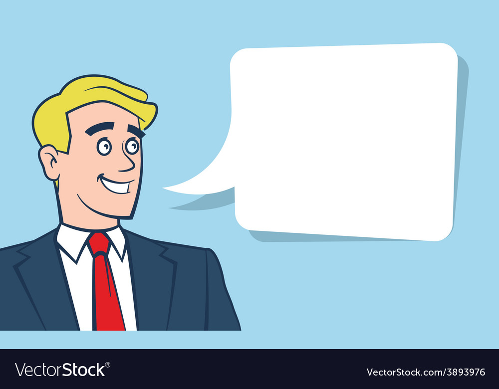 Happy smiling businessman with empty vector | Price: 1 Credit (USD $1)