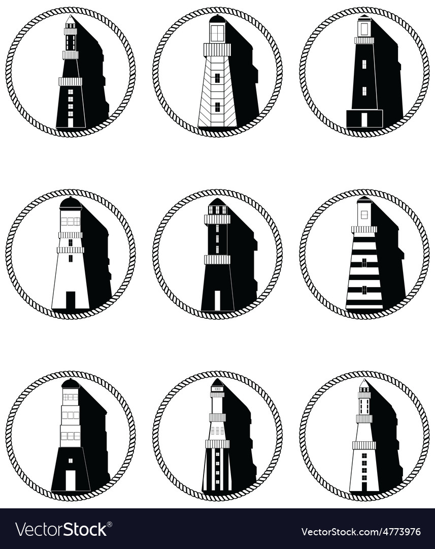 Lighthouses icons in knotted circle in black and vector   Price: 1 Credit (USD $1)