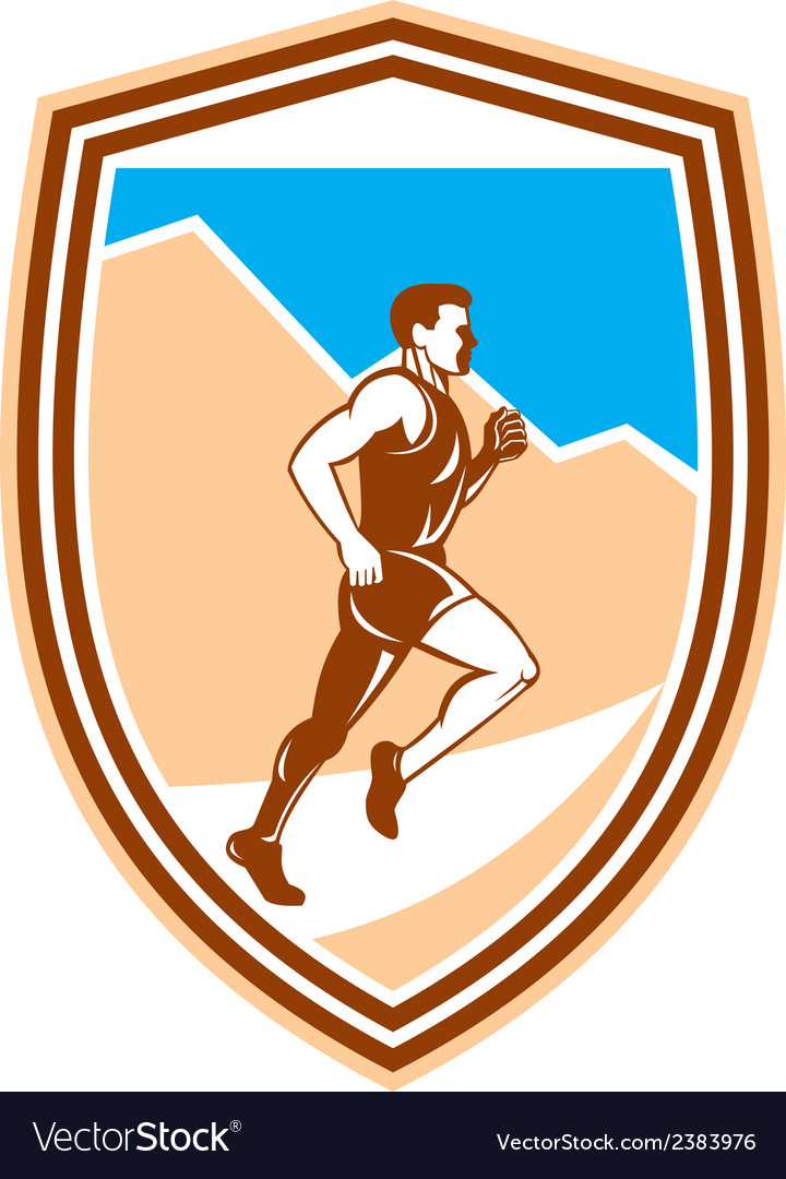 Marathon runner running side view retro vector | Price: 1 Credit (USD $1)