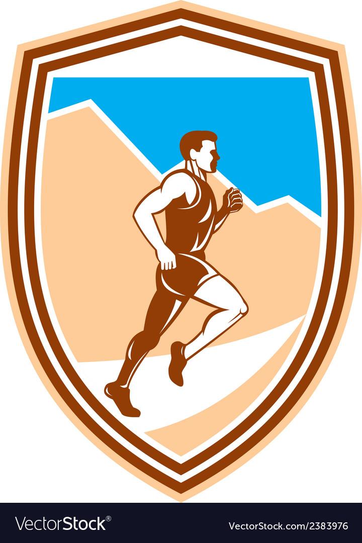 Marathon runner running side view retro vector | Price: 1 Credit (USD $1)