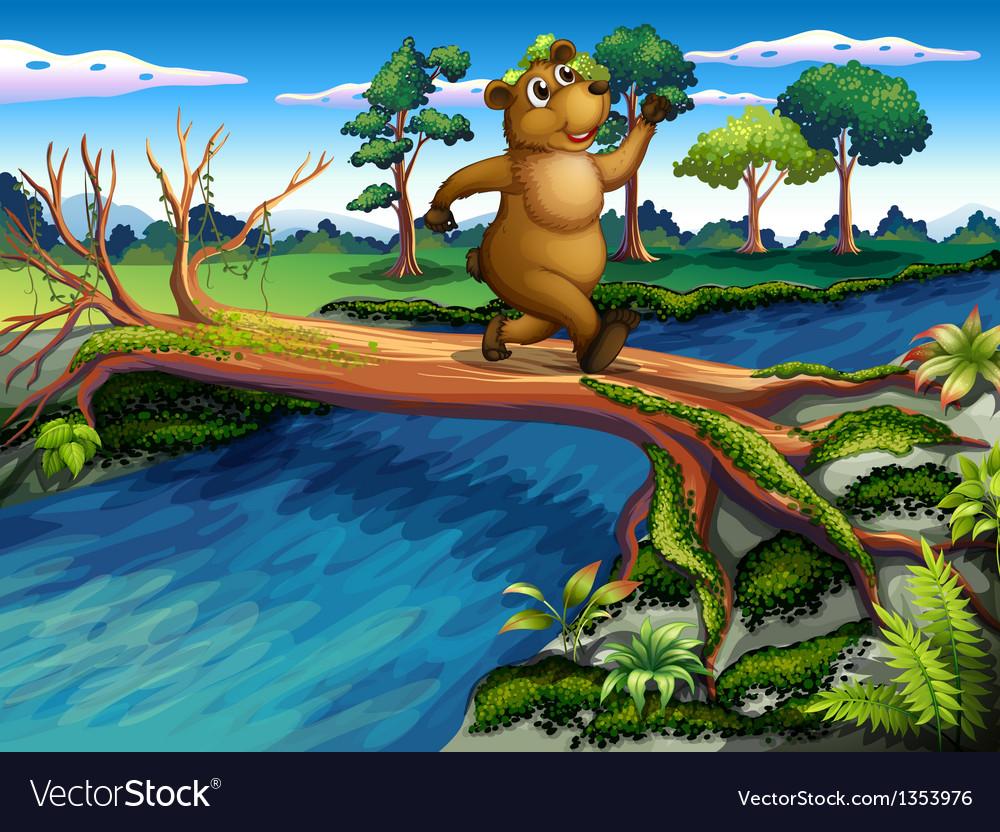 River crossing bear vector | Price: 1 Credit (USD $1)