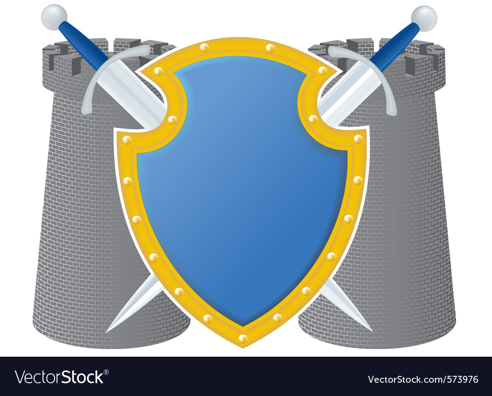 Shield and towers vector | Price: 1 Credit (USD $1)