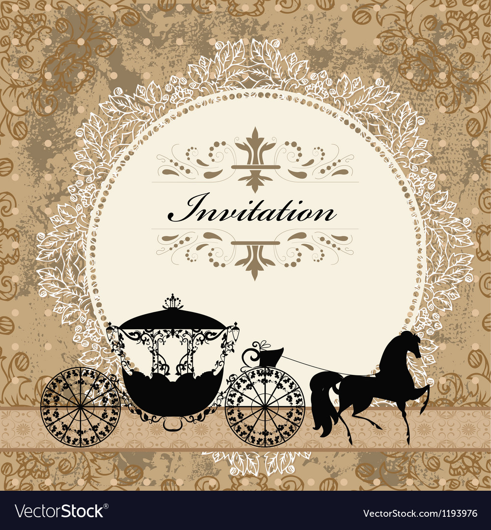 Vintage carriage invitation card vector | Price: 1 Credit (USD $1)